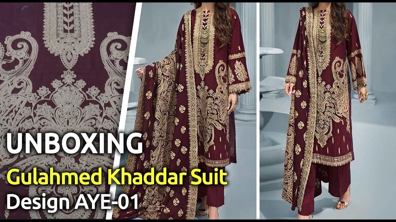 [VIDEO] - Latest GULAHMED Winter Collection 2019 | Pakistani unstitched Winter Suits | Design AYE-01 1