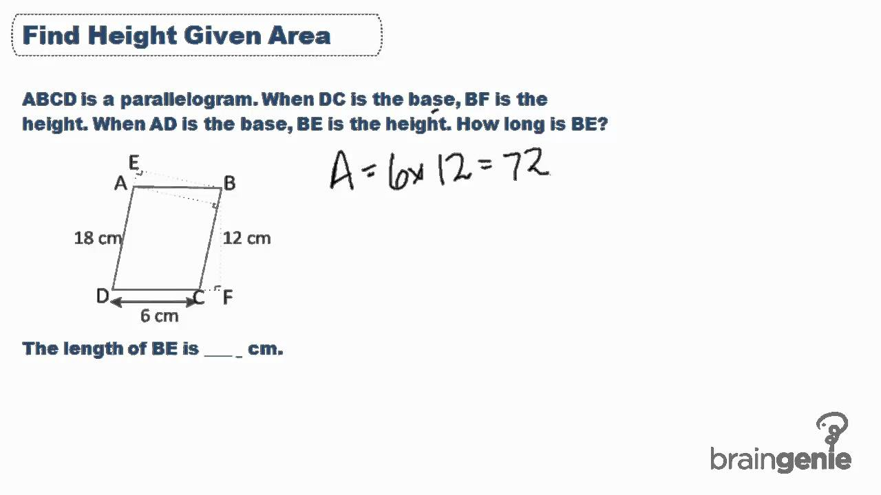 133 Find Height Given Area Of Parallelogram Youtube