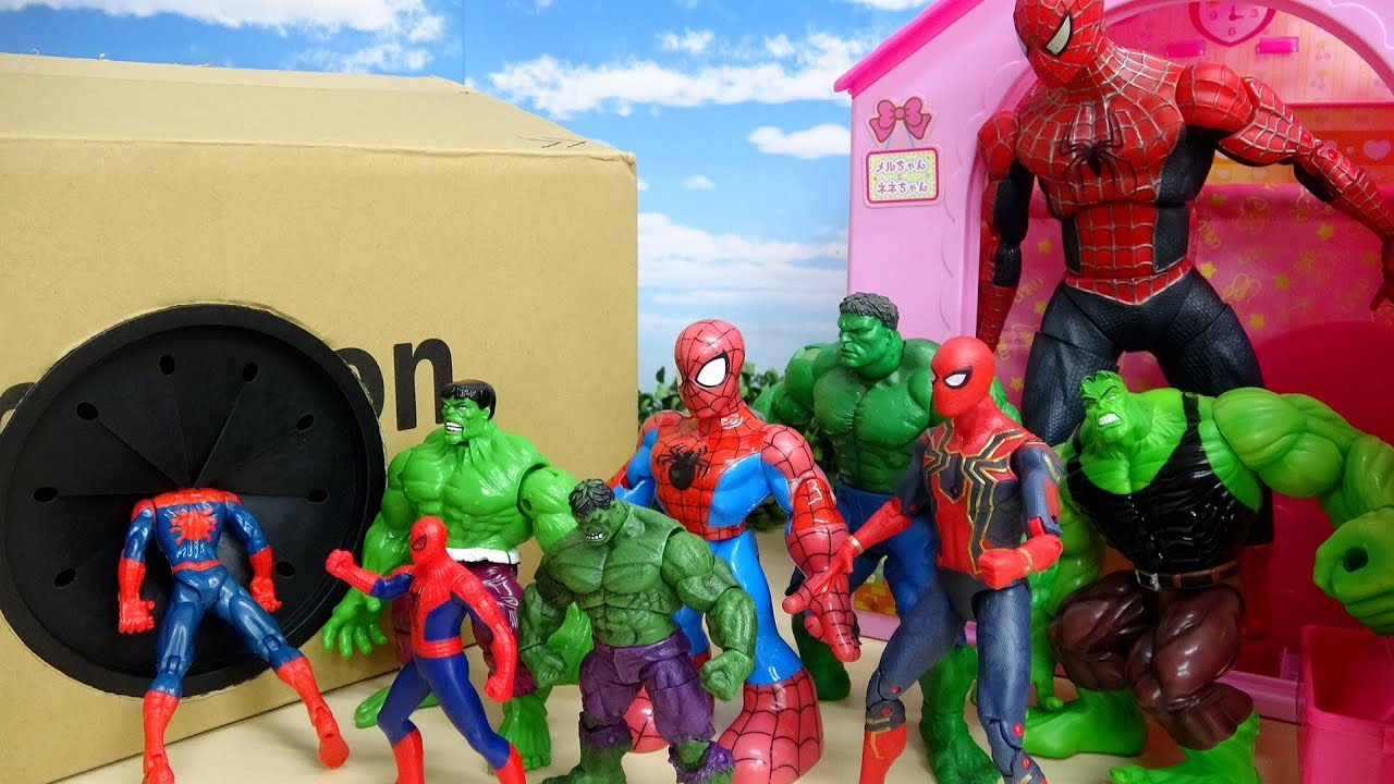 Download Spider-Man vs Hulk Great Battle House and Cardboard hole