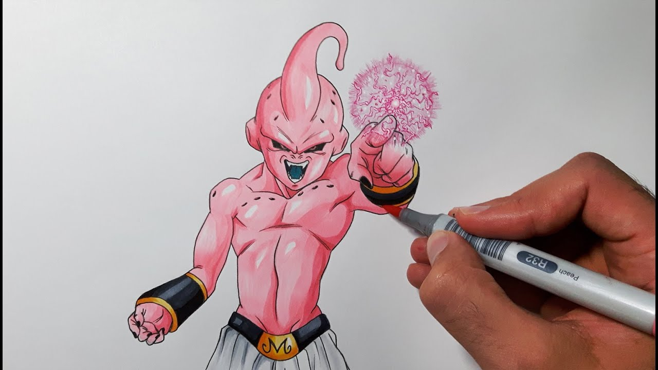 drawing kid buu dragon ball z youtube