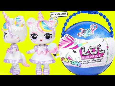 JOJO SIWA Unicorn Custom LOL Surprise Doll - Big Customized Pearl Fizz Shell, DIY Blind Bags Sisters