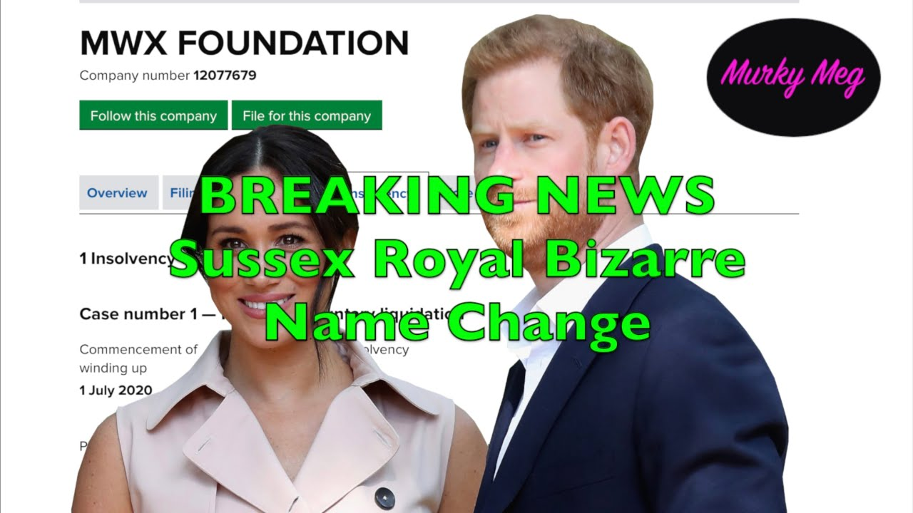 BREAKING NEWS! Sussex Royal File to change name to MWX Foundation after liquidation