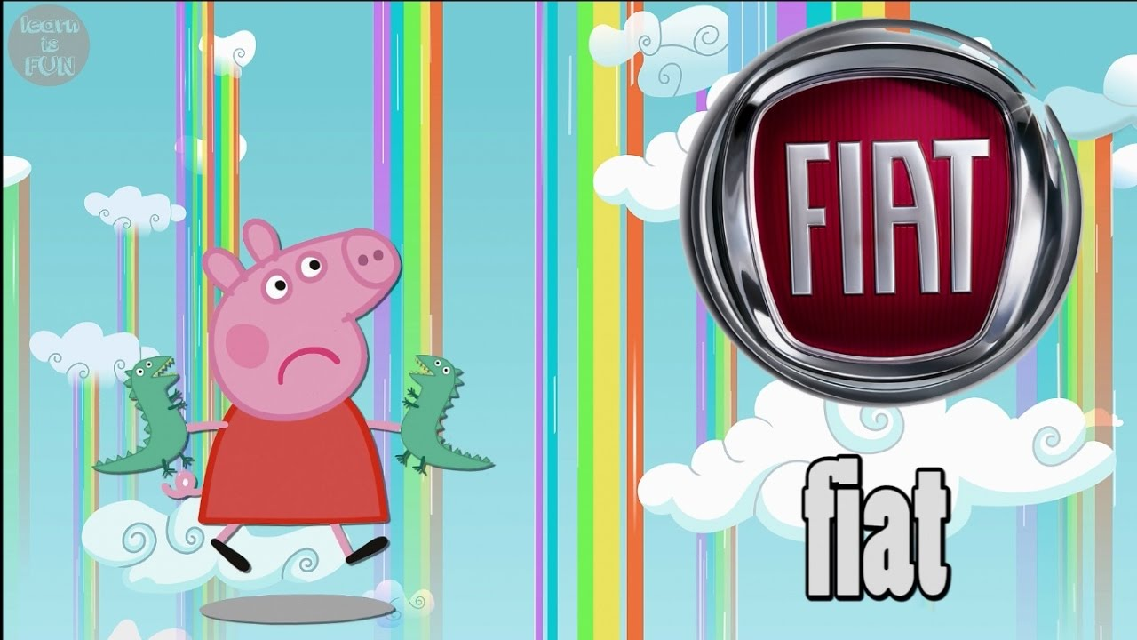 CAR BRANDS LOGOS with PEPPA PIG | Learn CAR BRANDS names pronunciation A to  Z for kids Learn ENGLISH