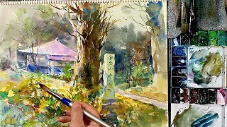 [Eng sub] How to paint Japanese Temple Landscape | Watercolor tutorial