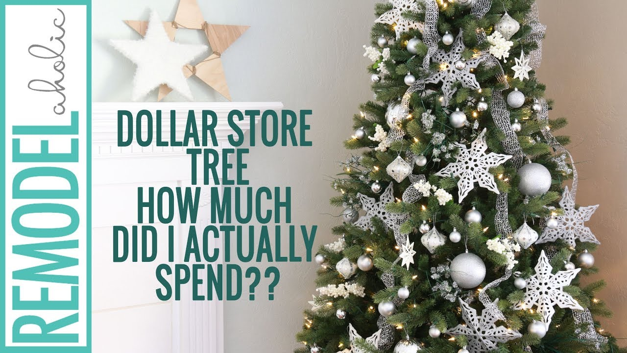 dollar store christmas tree decorating tutorial silver and white christmas tree creativechristmas - Pics Of Decorated Christmas Trees