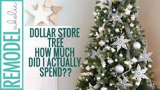 Dollar Store Christmas Tree Decorating Tutorial; Silver and White Christmas Tree #creativechristmas