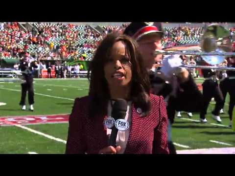 Pam Oliver Almost Run Over by Ohio State Marching Band
