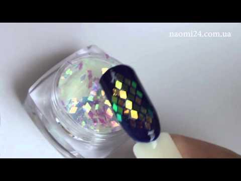 Дизайн ногтей ромбики блестки
