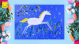 Как нарисовать Единорога - урок рисования для детей 6-9 лет. Дети рисуют Единорога поэтапно