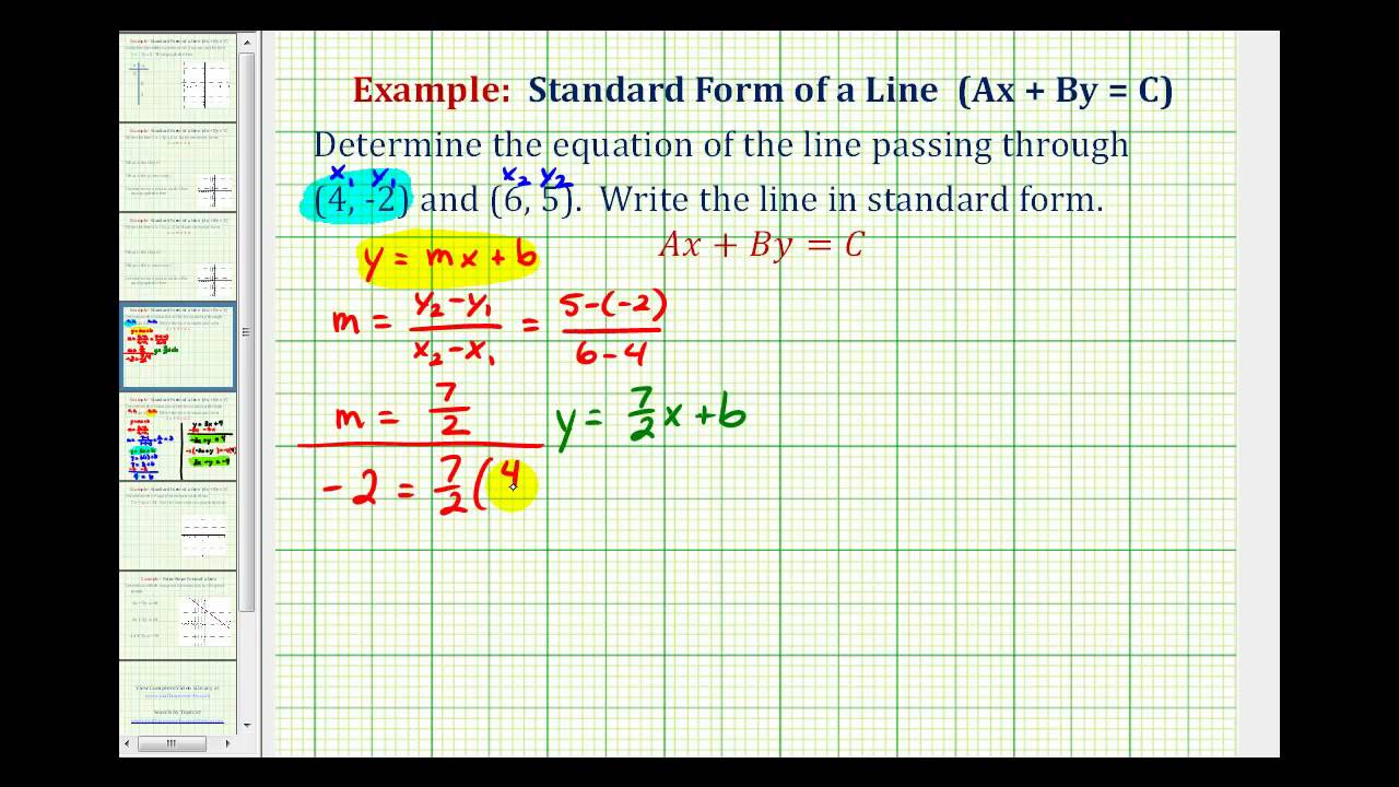 Ex 2 find the equation of a line in standard form given two ex 2 find the equation of a line in standard form given two points falaconquin