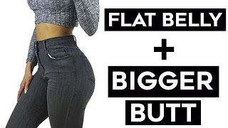 How To Get A Flat Stomach + Bigger Butt | 4 Workouts For Bigger Booty and Flat Belly!