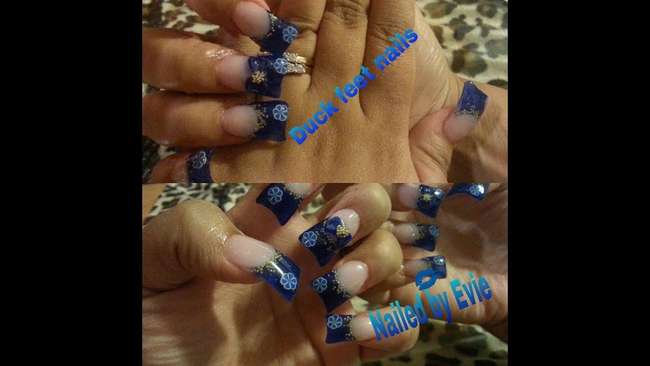 Duck feet acrylic nails blue flower inspired - YouTube