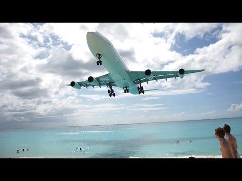 St Maarten Crazy Takeoff Landing Maho Beach 2015 HD