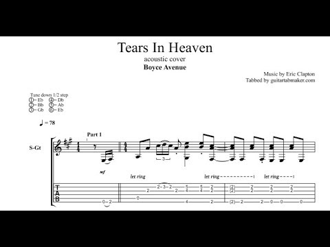 Tears In Heaven TAB - Boyce Avenue - acoustic fingerpicking guitar tab -  PDF - Guitar Pro