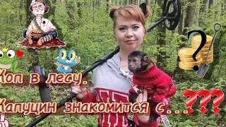 Коп в лесу! Капуцин знакомиться.... #Обезьяна #Животные #Алекса #капуцин #отдых #коп #кладоискатель