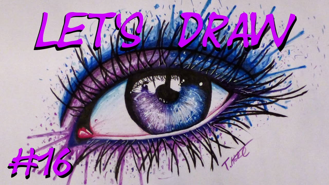Let 180 S Draw 16 Galaxy Eye Watercolor Look Speed Drawing Youtube