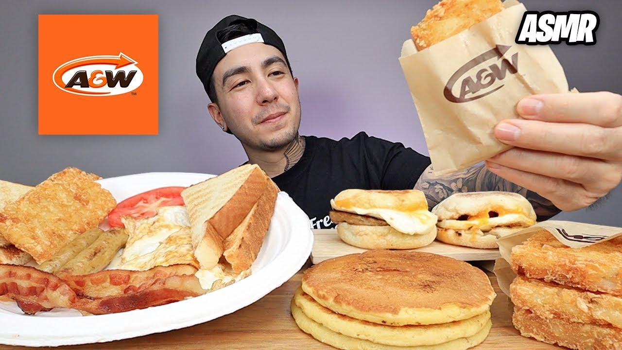 ASMR EATING Breakfast, Hashbrowns, Sausage & Egger Sandwich, Pancakes