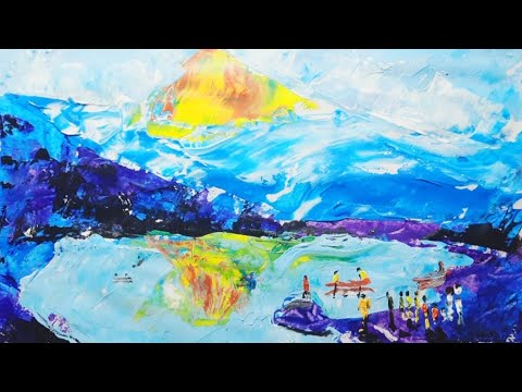 #Daily #challenge #art tutorial knife painting mountain boating.