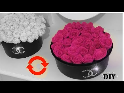make-a-glamorous-chanel-box-of-roses-for-cheap-with-reused-items-diy-luxury-flowers-box
