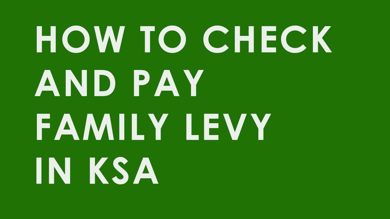 How To Check And Pay Saudi Family Levy Youtube