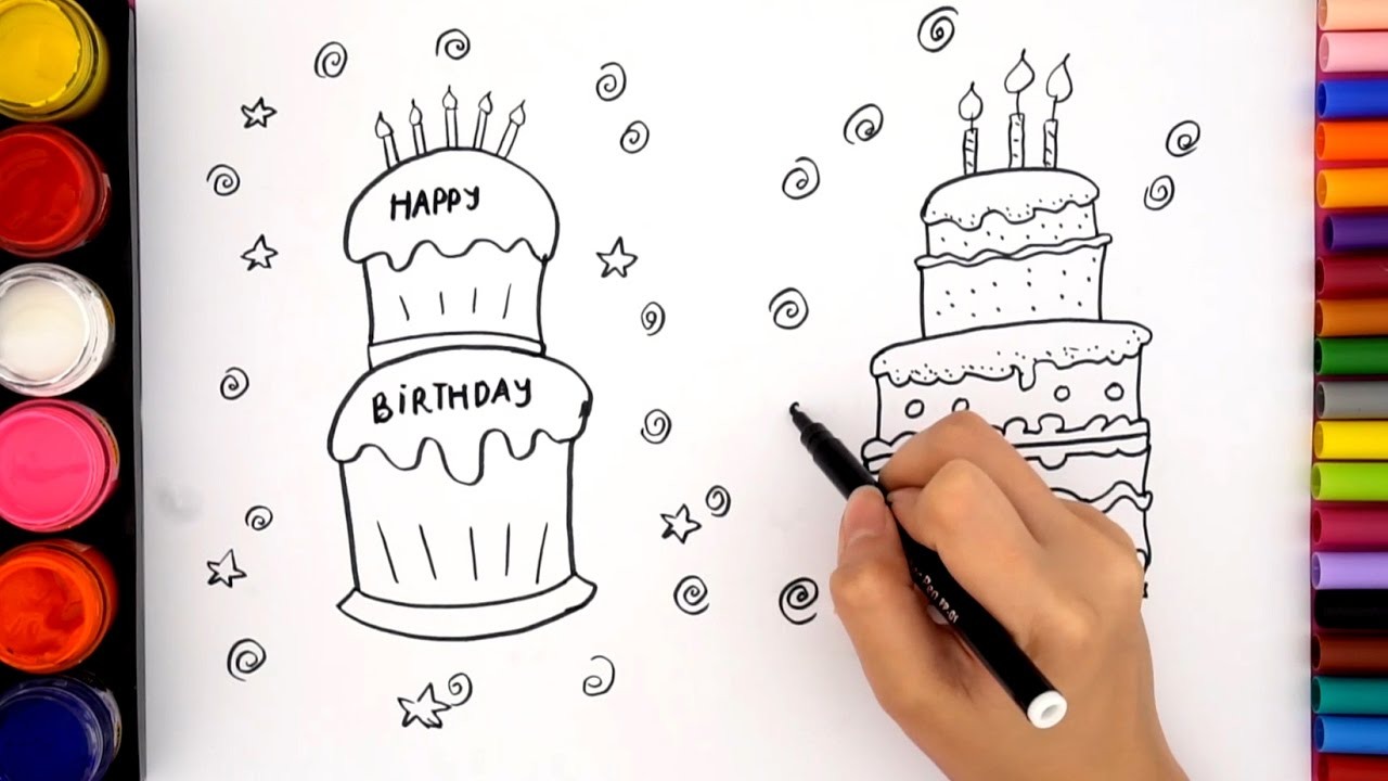how to draw a birthday cake step by step birthday cake coloring