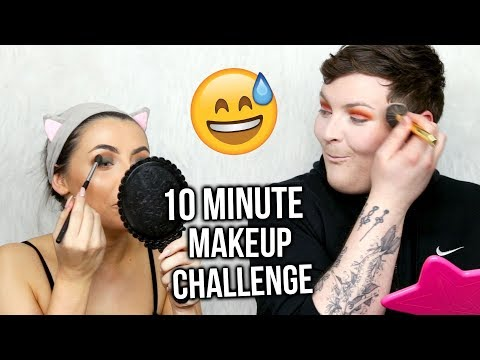TEN MINUTE FULL GLAM MAKEUP CHALLENGE FEAT. MAKEUPBYJAACK! OUR POOR FACES..