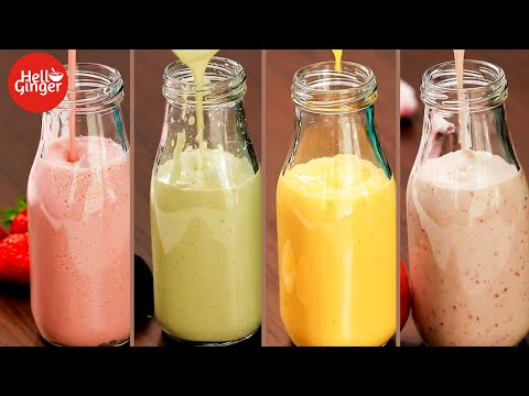 4 Best Yogurt Smoothie Recipes | Healthy and Nutritious Lassi | Strawberry, Avocado, Peach and Mango