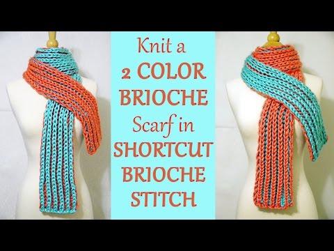 Easy 2 Color Brioche Scarf In SHORTCUT 2 Color Brioche Stitch - Free Knitting Pattern / YayForYarn