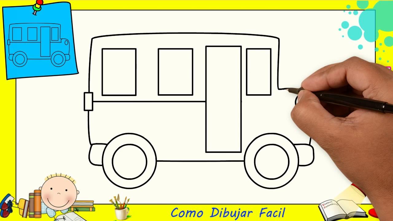 Como Dibujar FÁcil MÉtodo Para Principiantes Y Como: Como Dibujar Un Autobús FACIL Paso A Paso Para Niños Y