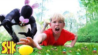 SuperHeroKids Extreme Egg Hunt vs Shadow Easter Bunny!