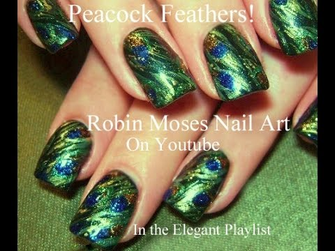 Nail Art Tutorial Diy Peacock Feather Nails Abstract Green Nail Design Youtube