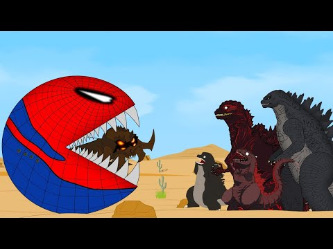 Godzilla Vs Shin Godzilla: PacMan Spiderman Red Monster Funny | Godzilla Movie Cartoon