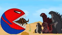 Godzilla vs Shin Godzilla: PacMan Spiderman Red Monster Funny   Godzilla Movie Cartoon