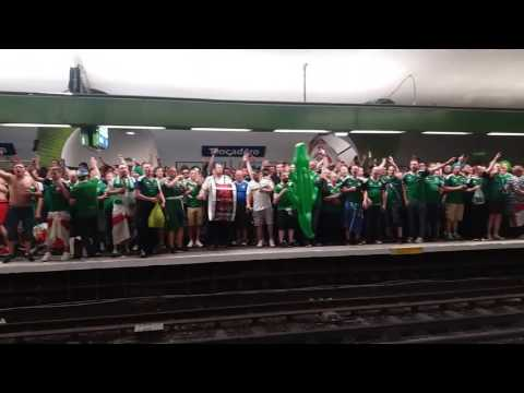 Northern Ireland supporters singing in the metro of PARIS // #EURO 2016