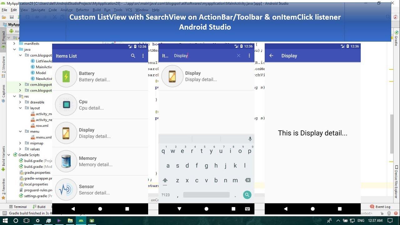 Custom ListView with SearchView on ActionBar/Toolbar & onItemClick