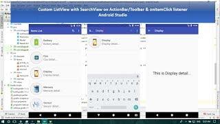 Custom ListView with SearchView on ActionBar/Toolbar & onItemClick listener - Android Studio