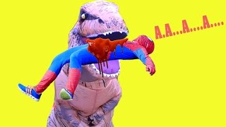 t rex play with kids in the beach