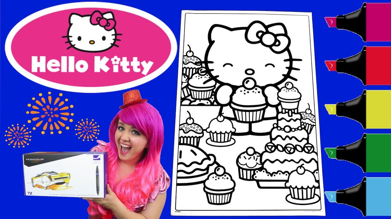 Coloring Hello Kitty GIANT Crayola Book Page Colored Markers Prismacolor