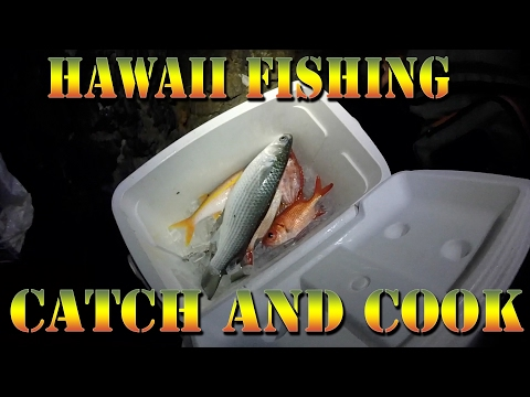 Hawaii Fish Catch and Cook - Menpachi, Aweoweo, Mullet, and Weke Fishing  - Braddahs On Da Shore 22