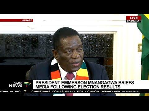 President Emmerson Mnangagwa addresses the media