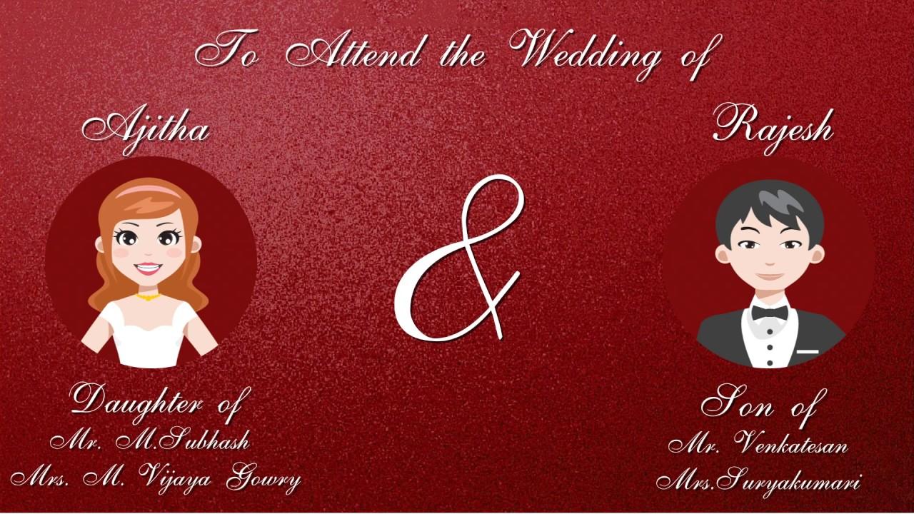 Ajitha Rajesh cute Animated wedding Invitation - YouTube