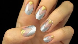 Party Nails: Gold & Silver Negative Space
