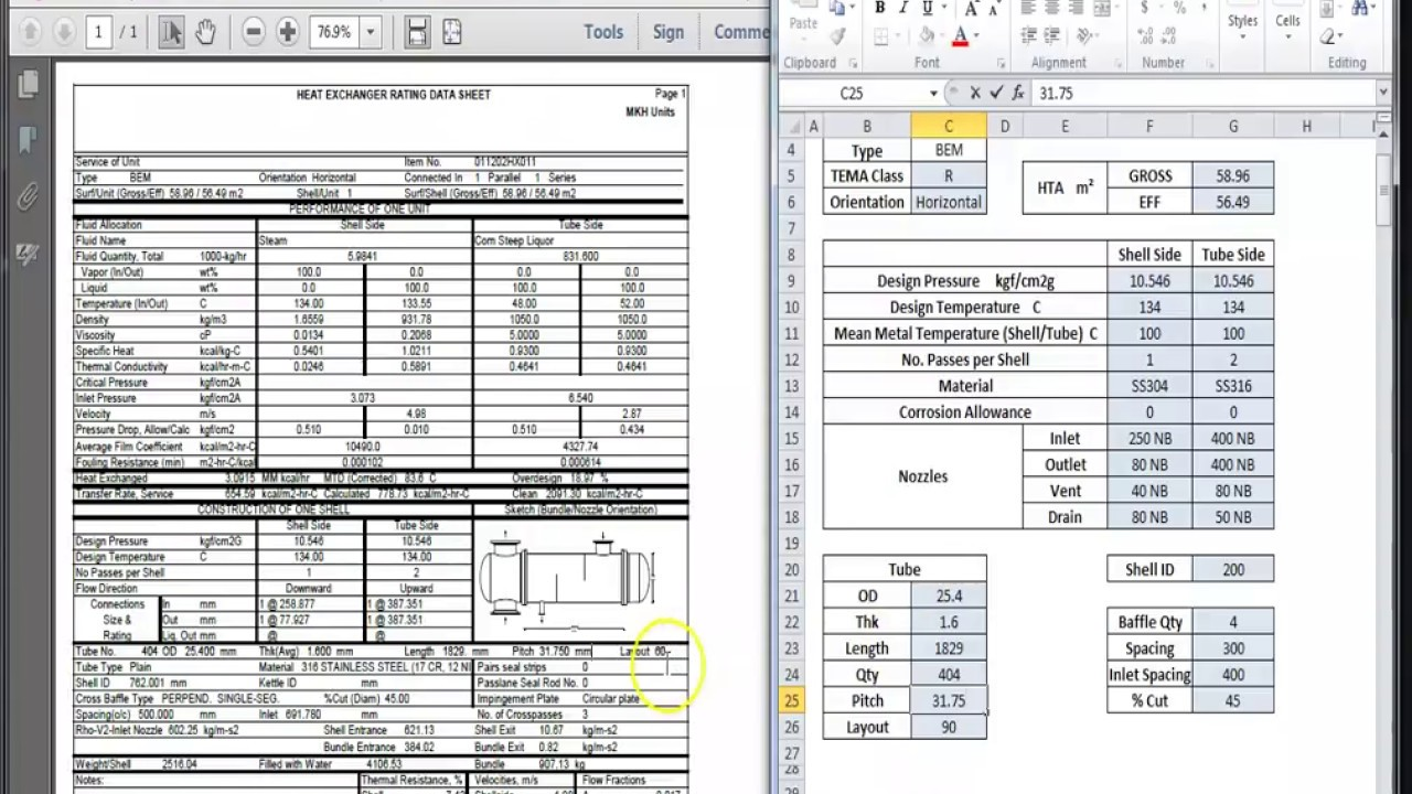 Shell And Tube Heat Exchanger Bem Design Estimation Spreadsheet As Per Process Data Sheet Youtube