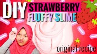 DIY STRAWBERRY FLUFFY SLIME! || SLIME TUTORIAL INDONESIA! MUDAH!