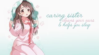 [ASMR] Caring Sister Cleans Your Ears & Helps You Sleep! [Binaural] [Whispered Personal Attention]
