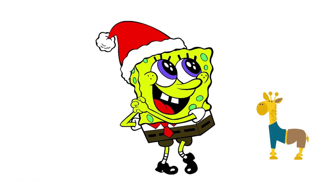 Merry Christmas SPONGEBOB Easy Colouring Page For KIDS