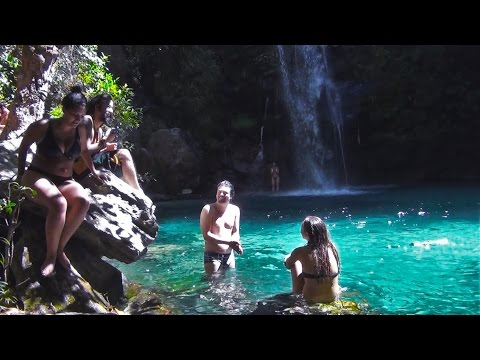 Santa Bárbara - Waterfall with emerald water,  Chapada dos Veadeiros Brazilian Highlands