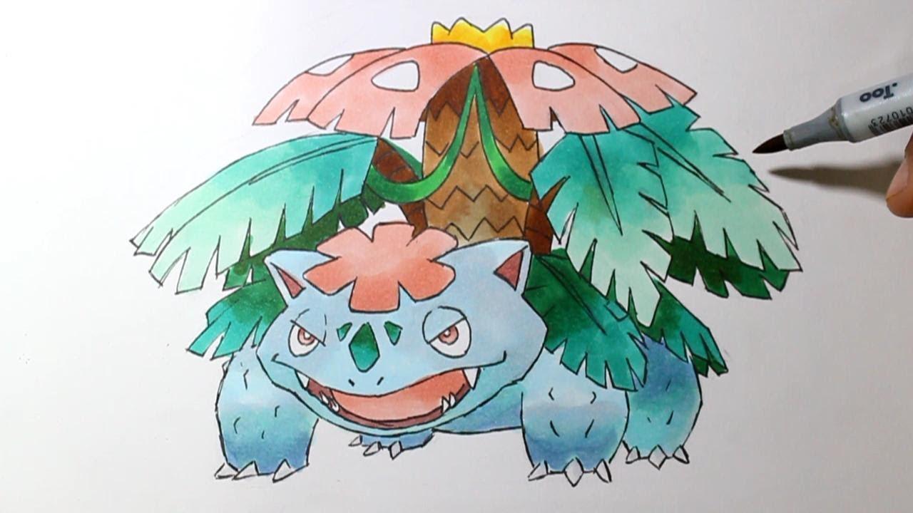 Wie Zeichnet Man Mega Bisaflor Pokemon X Y Tutorial