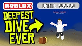 DIVING TO THE BOTTOM OF THE SEA.... DEPTH -99999999 in ROBLOX SCUBA DIVING SIMULATOR