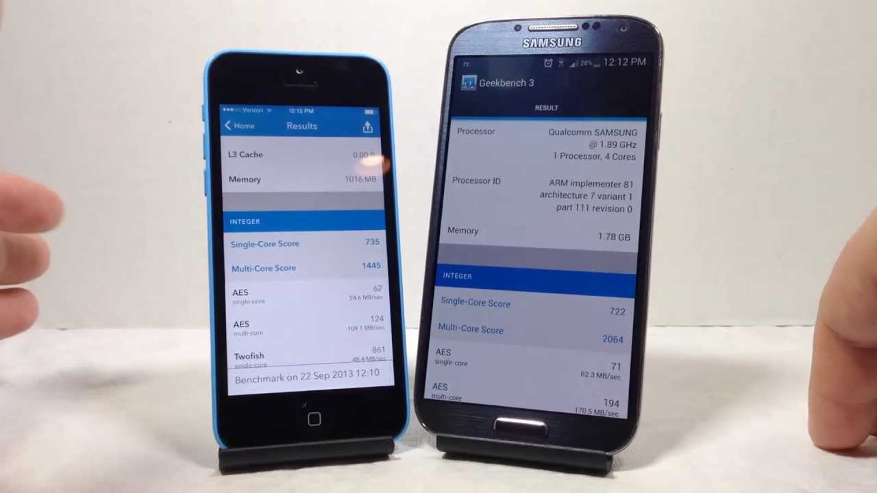 Apple iphone 5C vs Samsung Galaxy S4 Which Is Faster Better Benchmark AT&T